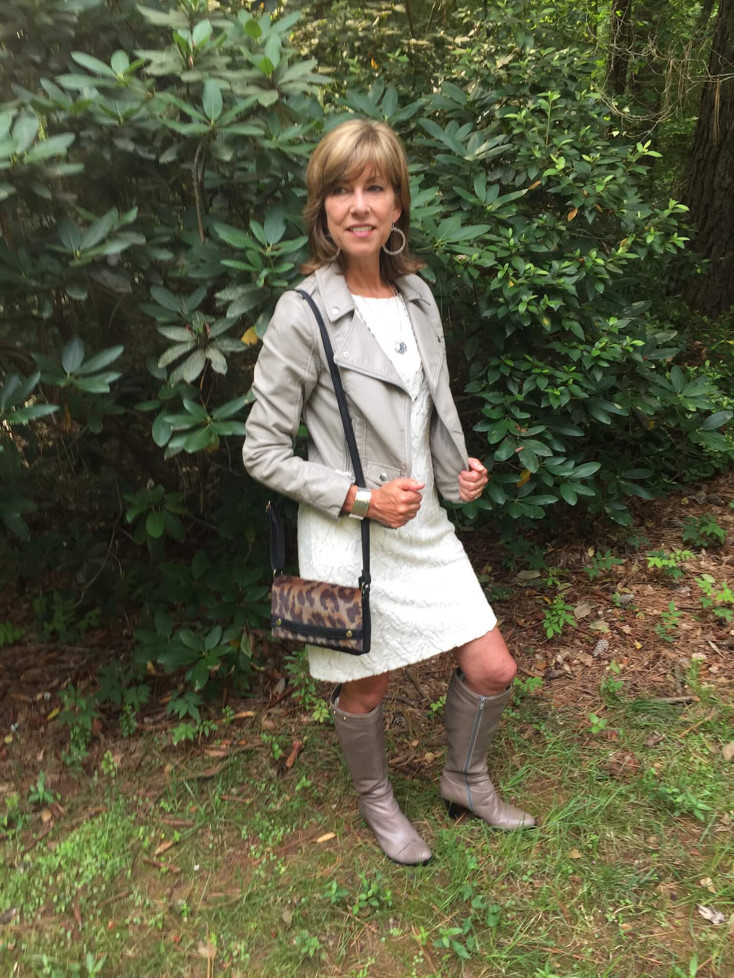 Ivory Dress with gray leather jacket