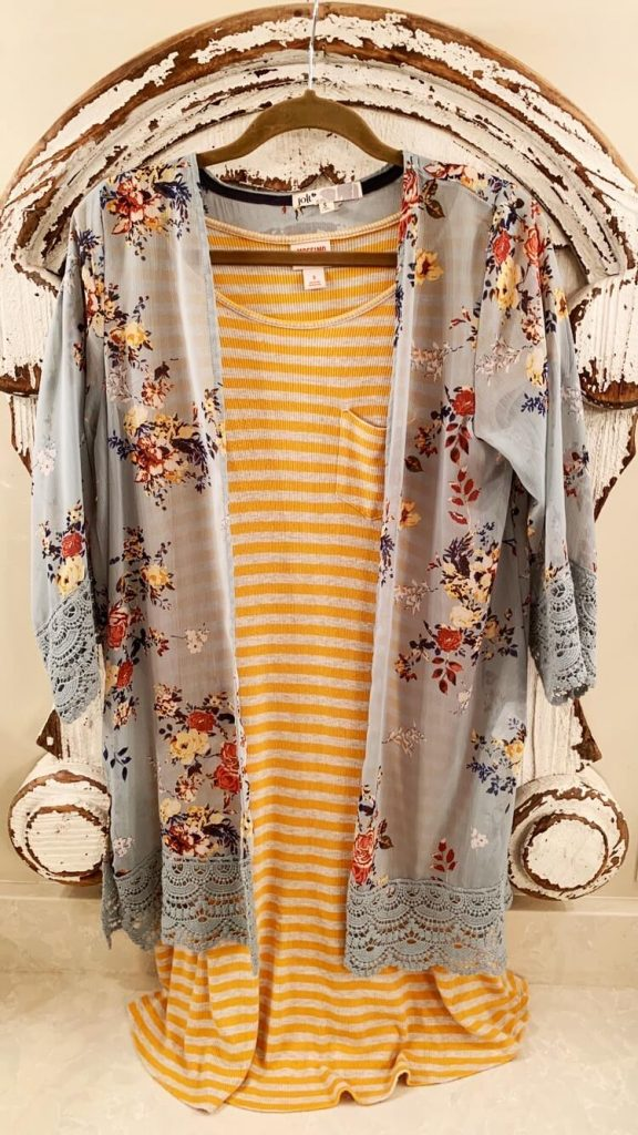 yellow stripe dress with print kimono