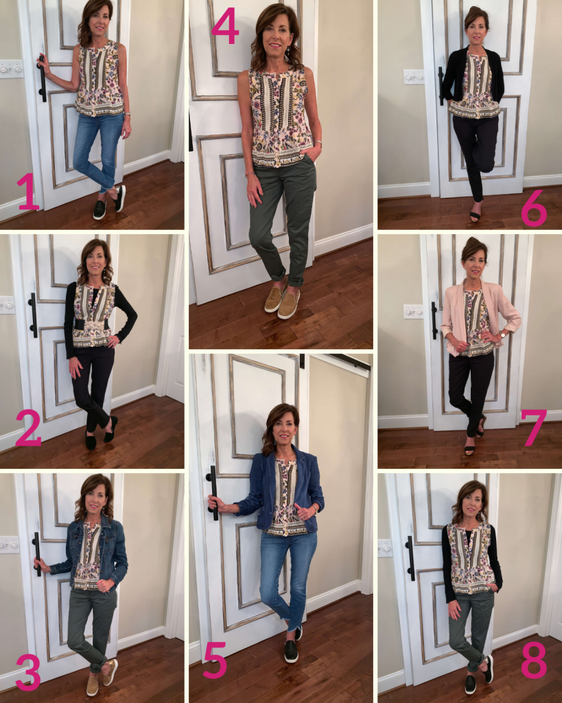 One Print Top Variation of Outfits